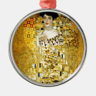 Adele Bloch-Bauer I by Gustav Klimt Art Nouveau Round Metal Christmas Ornament