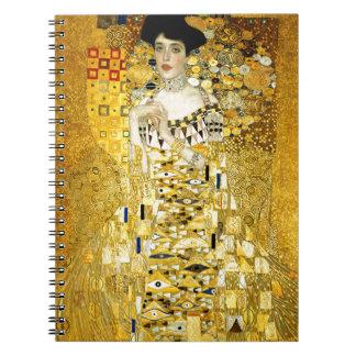Adele Bloch-Bauer I by Gustav Klimt Art Nouveau Spiral Notebook