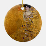 Adele Bloch-Bauer's Portrait by Gustav Klimt 1907 Double-Sided Ceramic Round Christmas Ornament