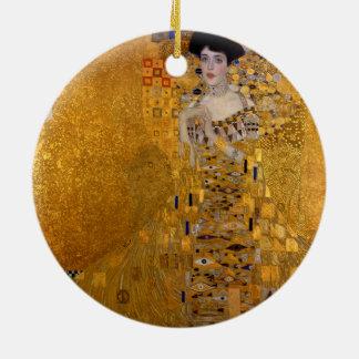 Adele Bloch-Bauer's Portrait by Gustav Klimt 1907 Double-Sided Ceramic Round Christmas Ornament
