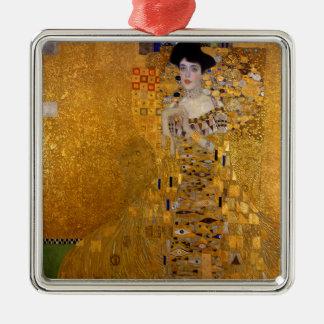 Adele Bloch-Bauer's Portrait by Gustav Klimt 1907 Square Metal Christmas Ornament