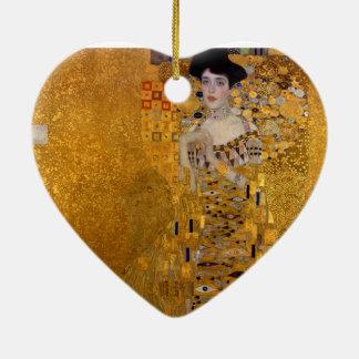 Adele Bloch-Bauer's Portrait by Gustav Klimt 1907 Double-Sided Heart Ceramic Christmas Ornament