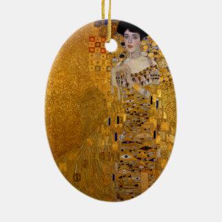 Adele Bloch-Bauer's Portrait by Gustav Klimt 1907 Double-Sided Oval Ceramic Christmas Ornament