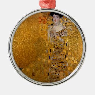 Adele Bloch-Bauer's Portrait by Gustav Klimt 1907 Round Metal Christmas Ornament