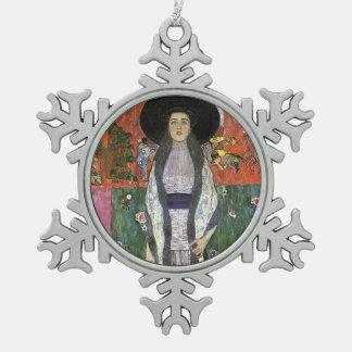 Adele Bloch by Gustav Klimt art nouveau art Snowflake Pewter Christmas Ornament