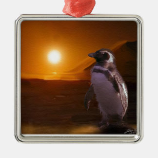 Adelie Penguin & Antarctic Sunset Square Metal Christmas Ornament
