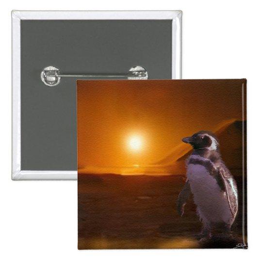 Adelie Penguin & Antarctic Sunset Pinback Button