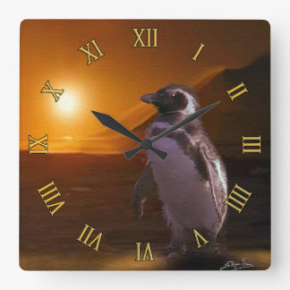 Adelie Penguin & Antarctic Sunset Square Wall Clock
