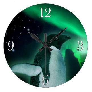 Adelie Penguin & Aurora Wildlife Art Large Clock