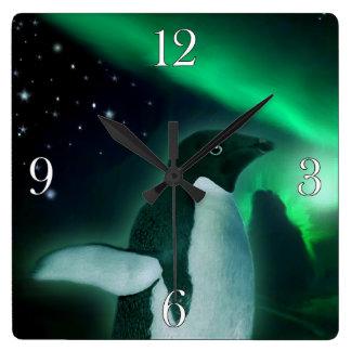 Adelie Penguin & Aurora Wildlife Art Square Wall Clock