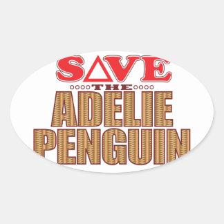 Adelie Penguin Save Oval Sticker
