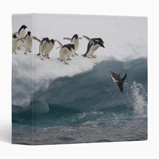 Adelie Penguins diving into sea Paulette Vinyl Binder