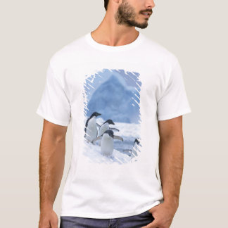 Adelie Penguins (Pygoscelis adeliae) on ice, T-Shirt