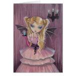 Adelina en tarjeta gótica rosada del vampiro