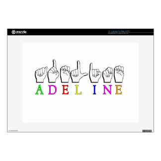 """ADELINE FINGERSPELLED NAME ASL DECAL FOR 15"""" LAPTOP"""