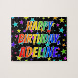 "[ Thumbnail: ""Adeline"" First Name, Fun ""Happy Birthday"" Jigsaw Puzzle ]"