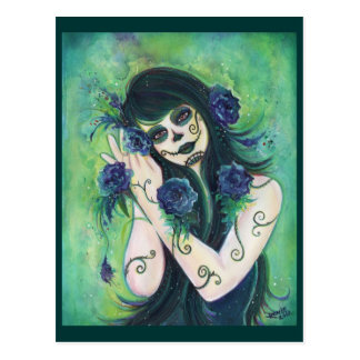 Adelita Day of the Dead postcard By Renee L.Lavoie