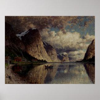 Adelsteen Normann al día nublado en un fiordo Póster