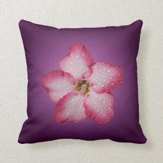 Adenium Pink Flower Flora Gradient Violet Throw Pillow