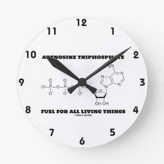 Adenosine Triphosphate Fuel For All Living Things Round Wallclock
