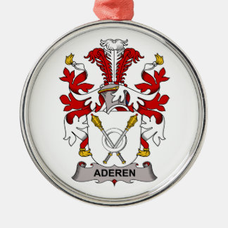 Aderen Family Crest Round Metal Christmas Ornament