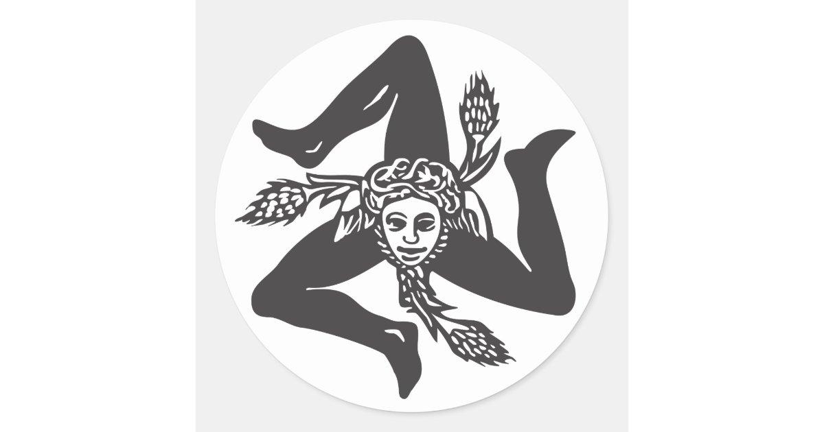 Adesivo Circolare Trinacria Classic Round Sticker Zazzle Com