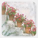 Adesivos flores na escada. pegatina cuadrada