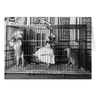 Adgie and Her Trained Lions Vintage Circus 1897 Card