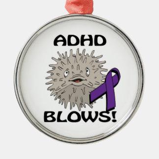 ADHD Blows Awareness Design Round Metal Christmas Ornament