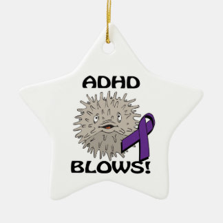 ADHD Blows Awareness Design Double-Sided Star Ceramic Christmas Ornament