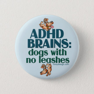 ADHD BRAINS (blue) Pinback Button