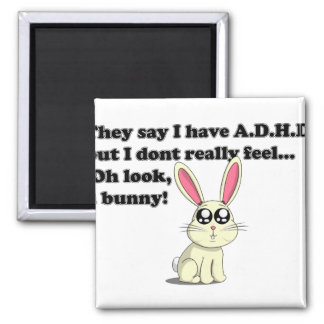 ADHD bunny 2 Inch Square Magnet