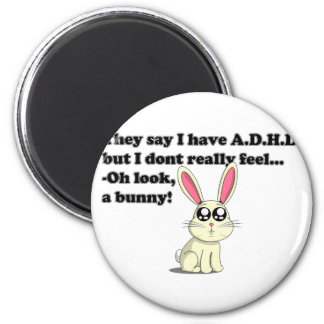 ADHD bunny 2 Inch Round Magnet