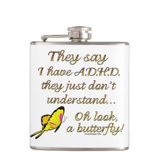 ADHD Butterfly Hip Flask