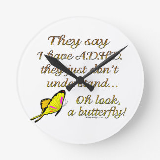 ADHD Butterfly Round Clock