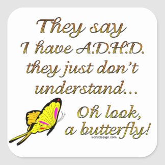 ADHD Butterfly Square Sticker