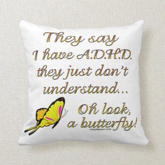 ADHD Butterfly Throw Pillow
