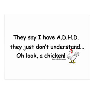 ADHD Chicken Humor Post Cards