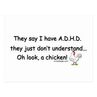 ADHD Chicken Humor Postcard