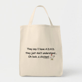 ADHD Chicken Humor Tote Bag