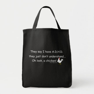 ADHD Chicken Saying Tote Bag