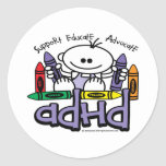 ADHD CRAYONS ROUND STICKERS