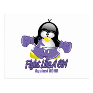 ADHD Fighting Penguin Postcard