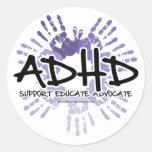 ADHD Handprint Classic Round Sticker