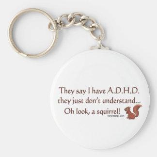 ADHD Squirrel Humor Basic Round Button Keychain