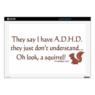 """ADHD Squirrel Humor Decals For 17"""" Laptops"""