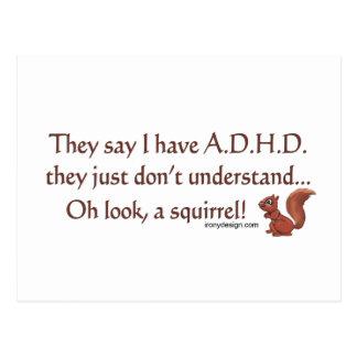 ADHD Squirrel Humor Postcard