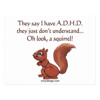 ADHD Squirrel Humor Postcards