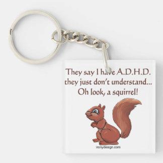 ADHD Squirrel Humor Single-Sided Square Acrylic Keychain