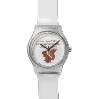 ADHD Squirrel Humor Wrist Watch